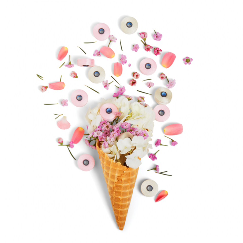 Pink colored thread, petals, in a waffle cone