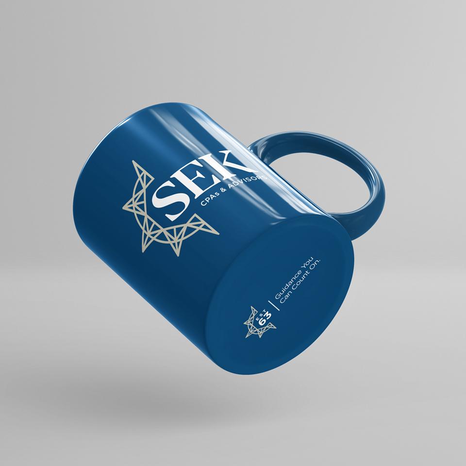 SEK Mug with logo on side and bottom