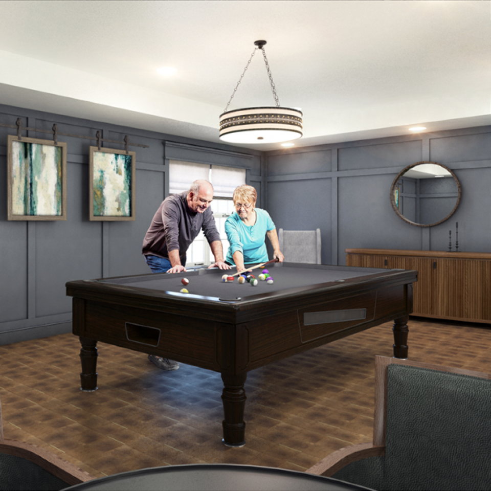 3D rendering of an older couple playing pool