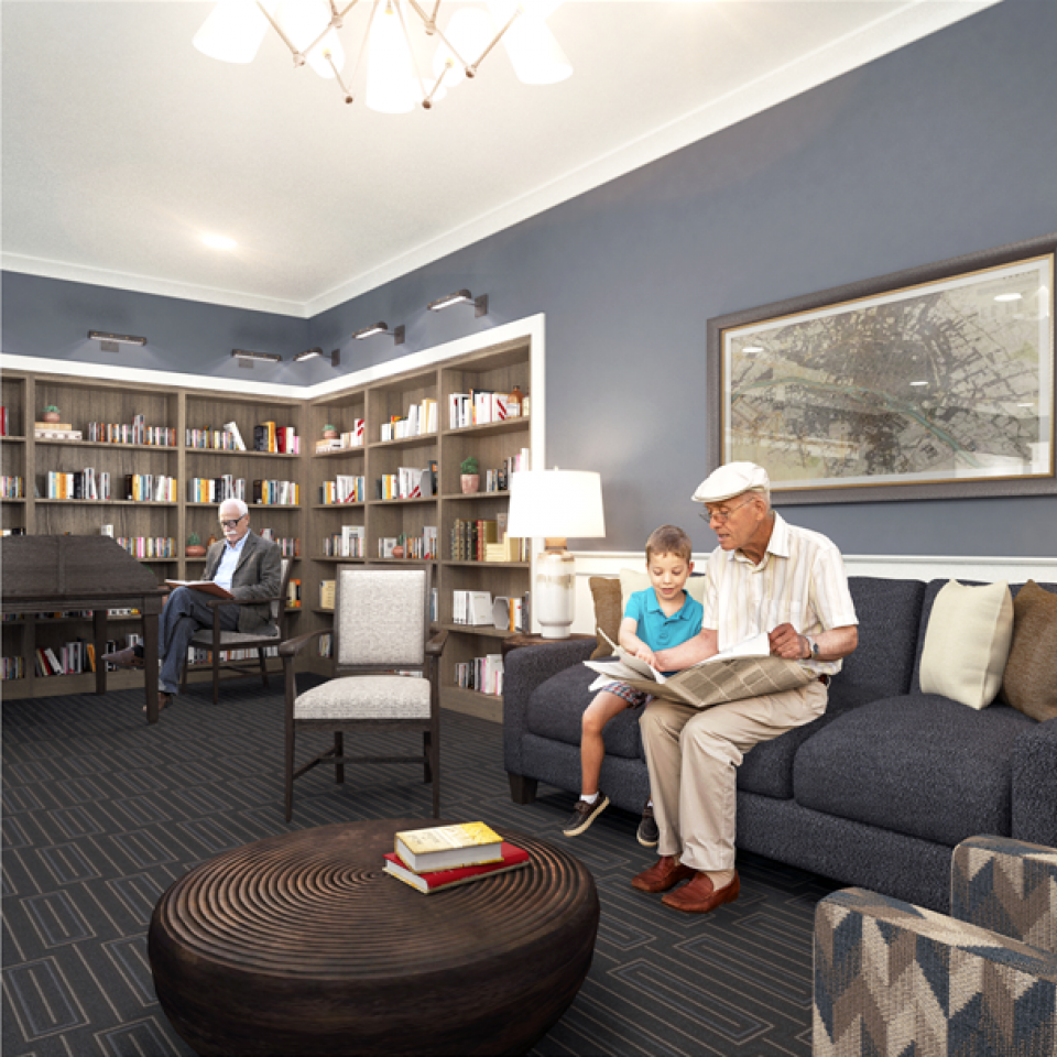 3D rendering of Grandfather and Grandson in library
