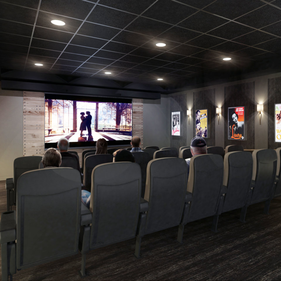 3D rendering of a movie theater room inside Brightview