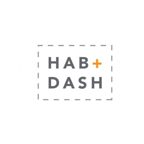 Logo Concept stitched box outlining Hab + Dash