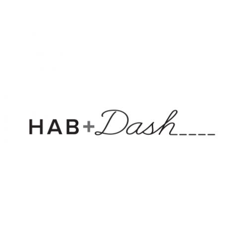 Logo Concept - HAB + cursive Dash with training stitching off the h