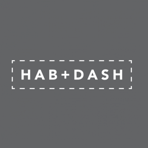 Logo Concept - Hab + Dash inside a box with stitching outline on black